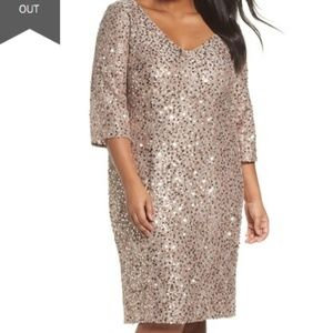 Alex Evenings Sequin Shift Dress Taupe V Neck